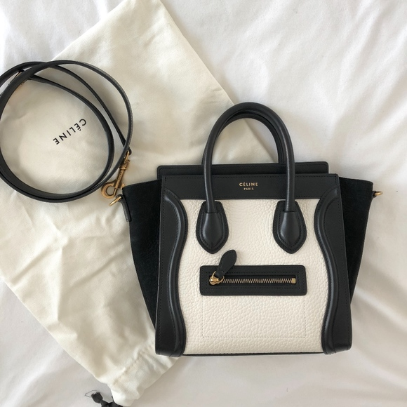 a426c62fdf94 Celine Handbags - Celine black and white Nano Luggage bag